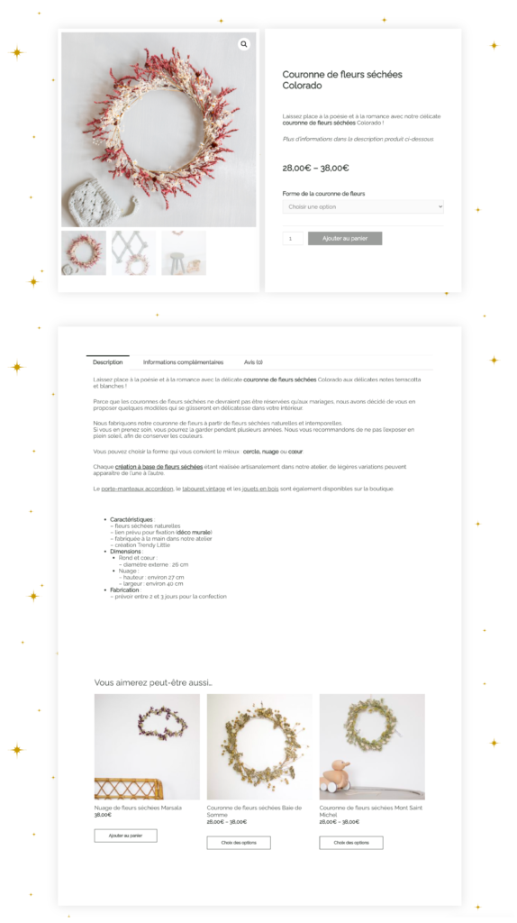 Fiche produit site e-commerce